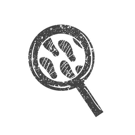 magnifying glass with footprint Ilustrace