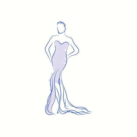 fashion model in elegant dress sketch 版權商用圖片 - 77326981