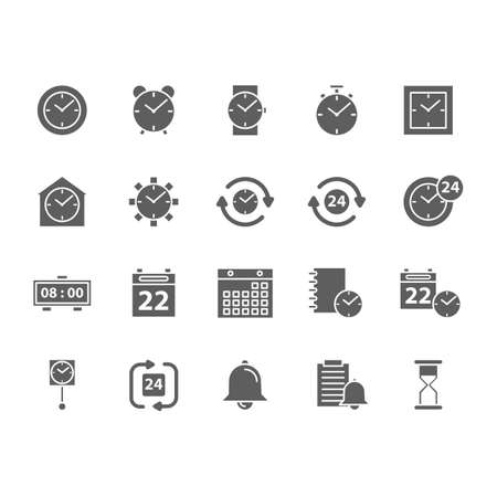 set of time concept icons Çizim