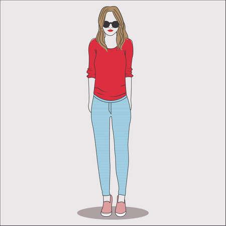 fashion model in casual wear Illustration