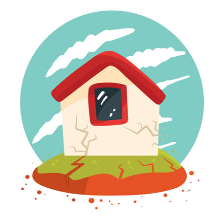 house in earthquake Ilustrace