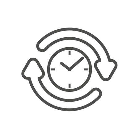 clockwise: clock with clockwise icon Illustration
