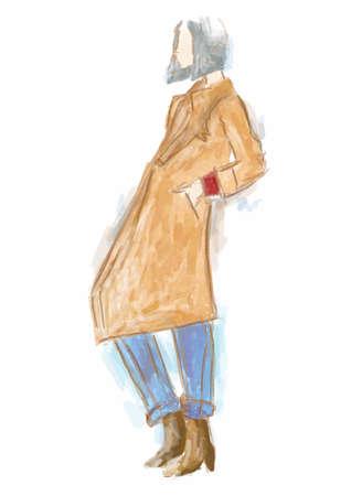fashion model in trench coat Illustration