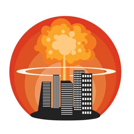 Explosion nucléaire en ville Banque d'images - 77327214