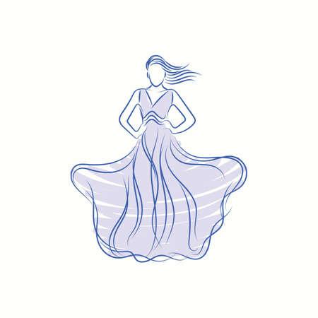 fashion model in elegant cloth sketch