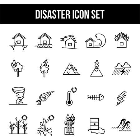 earthquake crack: Disaster icon set.