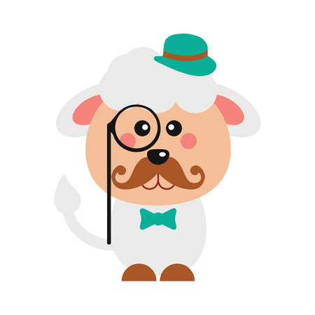 Cute sheep with monocle.