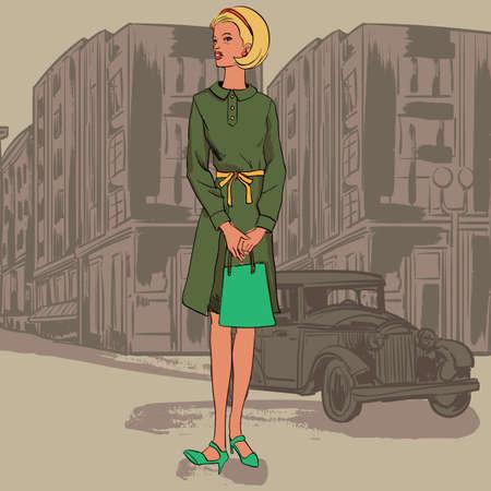 mode-model in de stad