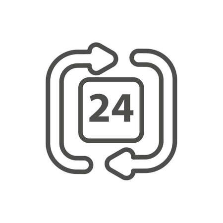 twenty four hour: 24 hours clock icon Illustration