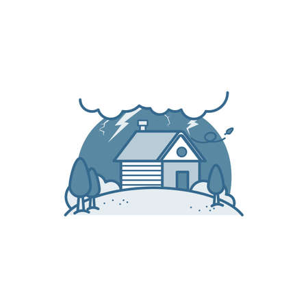 House in thunderstorm Иллюстрация