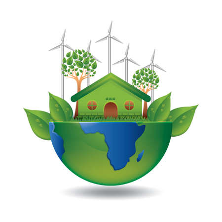 world environmental day concept Çizim