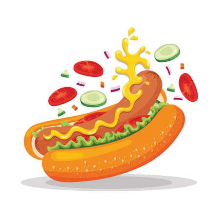 Tossed hotdog Illustration