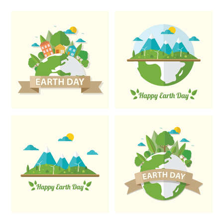 set of earth day icons Stock fotó - 77327974