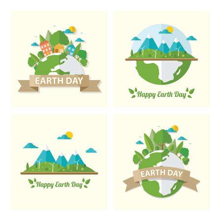 set of earth day icons Illusztráció