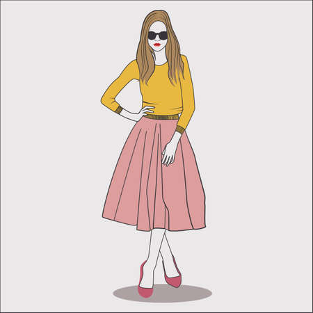 eyewear: fashion model in top and skirt