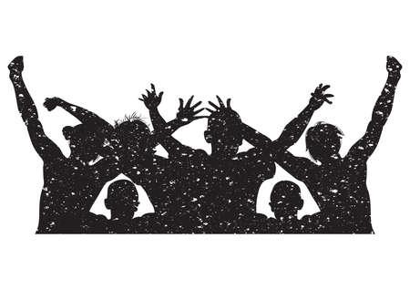 silhouette of people cheering Imagens - 77327982