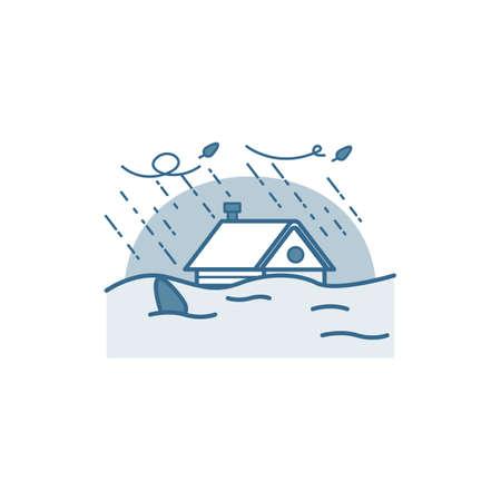 Haus in Flut geraten. Vektorgrafik