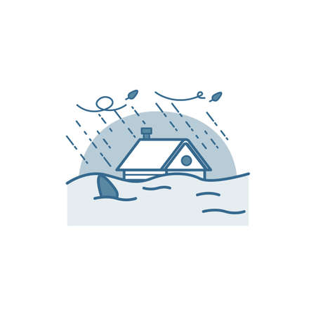 House caught in flood.