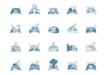 Collection of disaster icons.