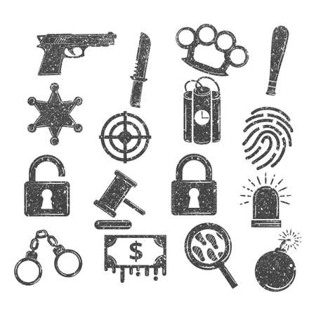 Set of criminal icons.