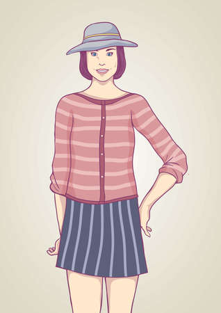 fashion model in casual wear Illustration