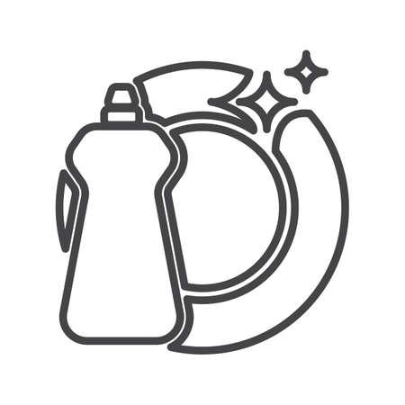 食器洗い機の洗剤とプレート  イラスト・ベクター素材