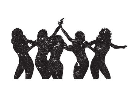 silhouette of five women Vectores