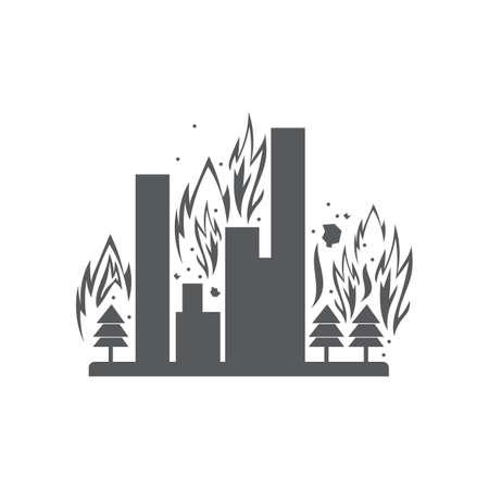 Edifici sul fuoco Archivio Fotografico - 77193328