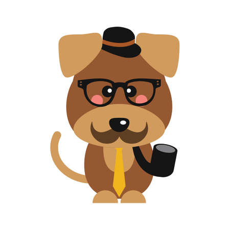 cute dog with hat and smoking pipe