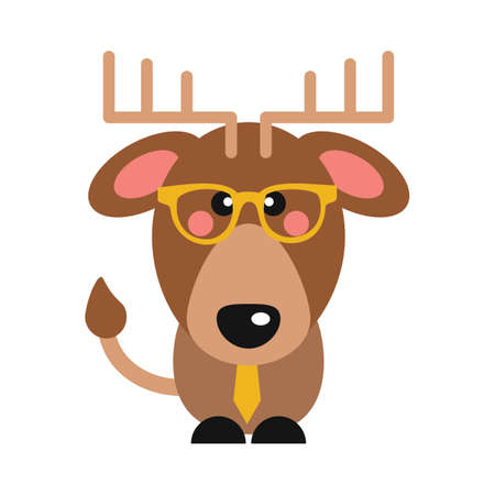 stag with glasses and tie