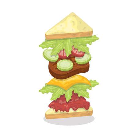 サンドイッチ ハンバーガーを投げ  イラスト・ベクター素材