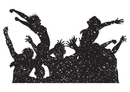 Silhouette of people cheering