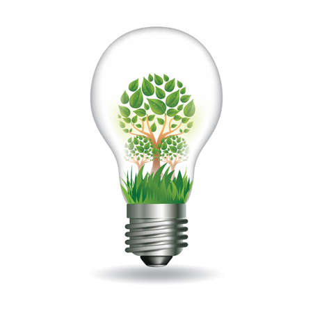 Light bulb with trees Illustration