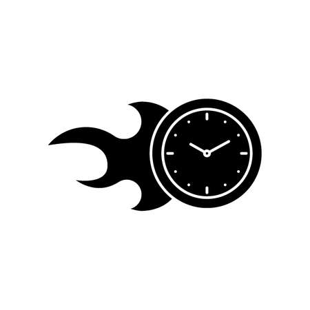 Clock on fire icon