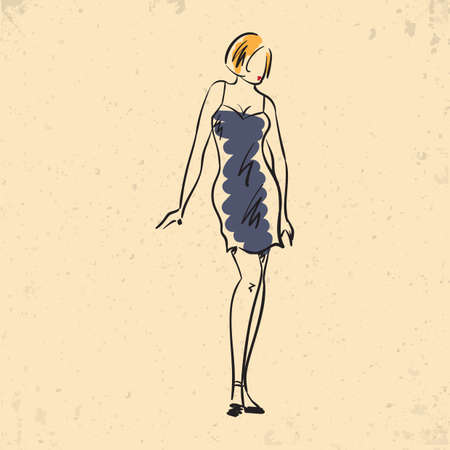 Fashion model in spaghetti strap dress Illustration