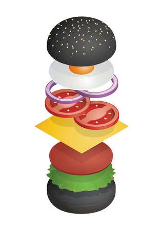 Geworpen hamburger met houtskoolbroodje