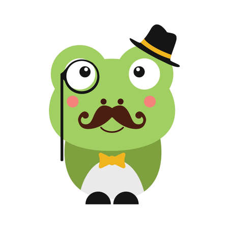 cute frog with hat and monocle