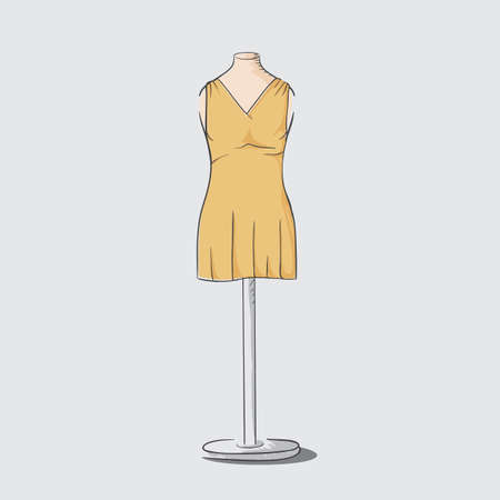 dress on clothing stand