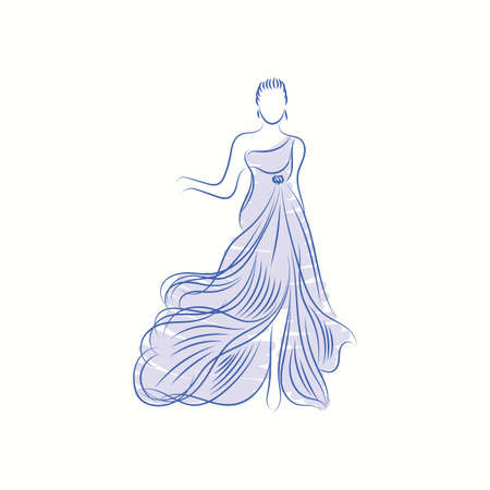 Fashion model in elegant dress sketch 版權商用圖片 - 77253718