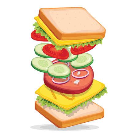Tossed sandwich Ilustrace