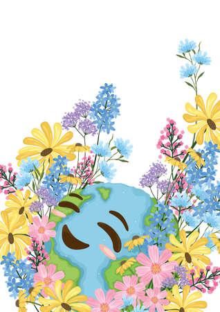 Happy earth poster design Illustration