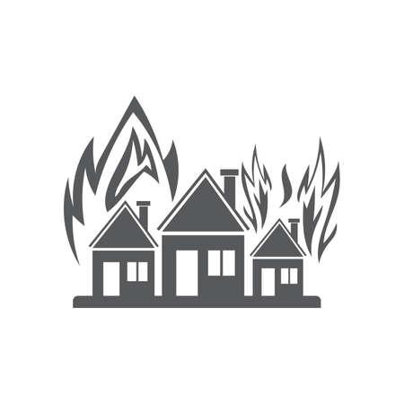 Houses on fire Illustration