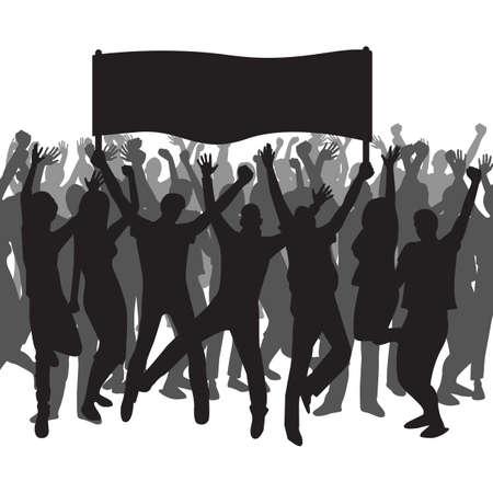 Silhouet van mensen die een banner en een toejuiching houden