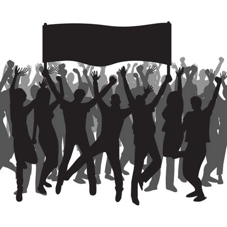 Silhouette of people holding a banner and cheering Illustration