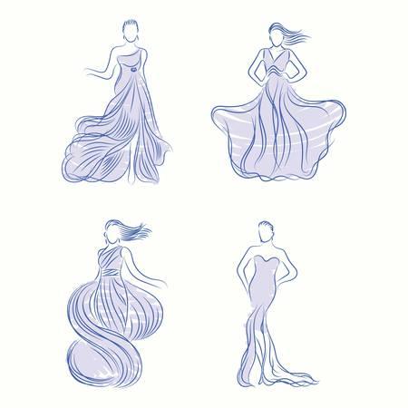 Fashion models in elegant dresses 向量圖像