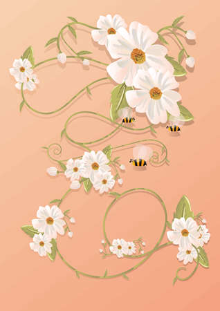 Bees with flowers design Иллюстрация