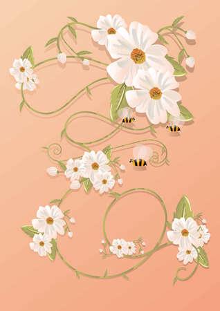 Bees with flowers design Ilustração