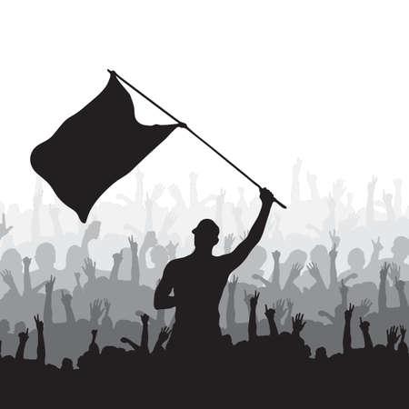 男は手を振っている旗、観衆の喝采