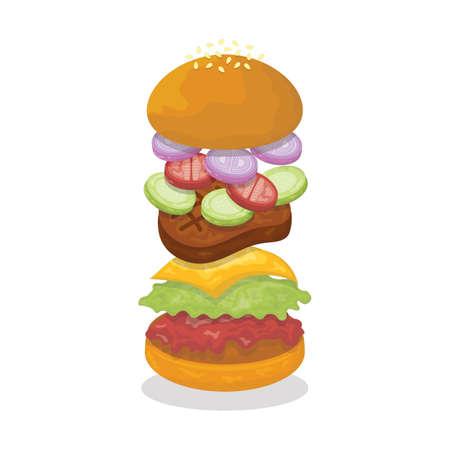 Gegoten Cheeseburger Stock Illustratie