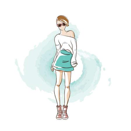 Modèle de mode en haut et jupe Banque d'images - 77255169